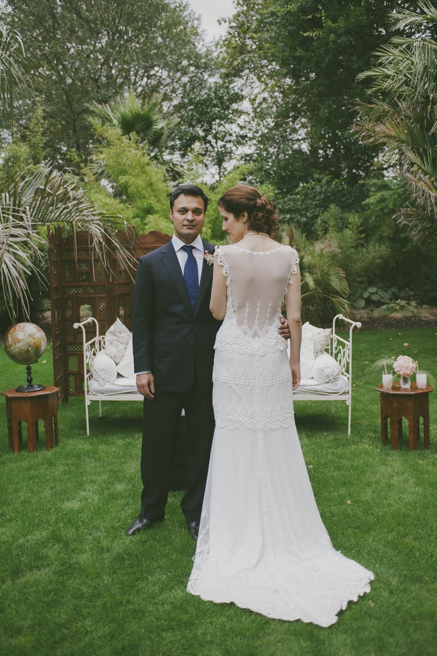 Portrait of a London wedding couple at a garden venue, produced by luxury UK wedding planners Knot & Pop