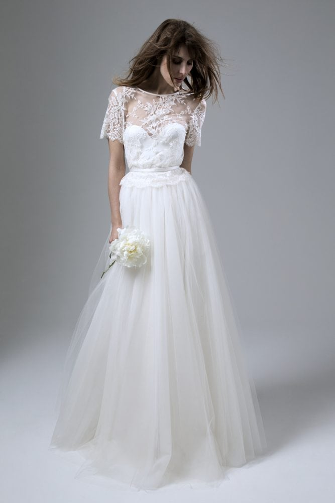Wedding dresses by Kate Halfpenny. Dita Skirt. Bella Lace Top