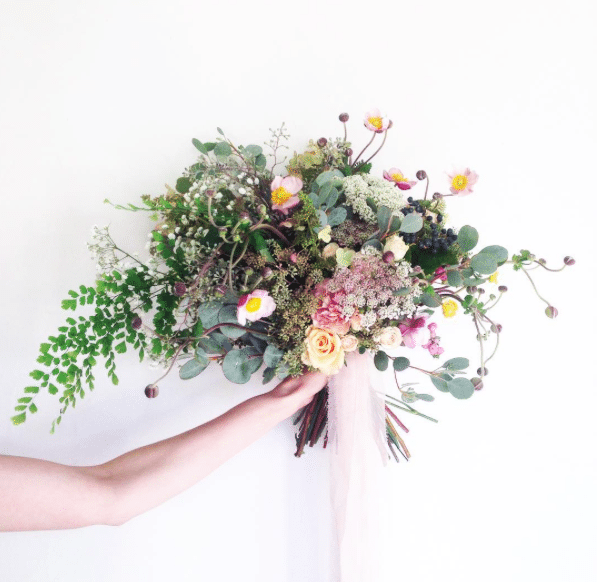 A foliage filled wedding bouquet for Autumnal weddings