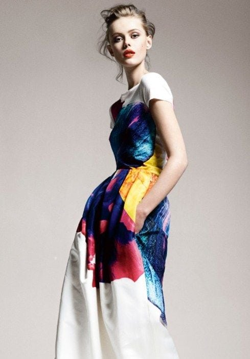 Painted Jil Sander dress for an alternative wedding dress look, on the Knot & Pop blog