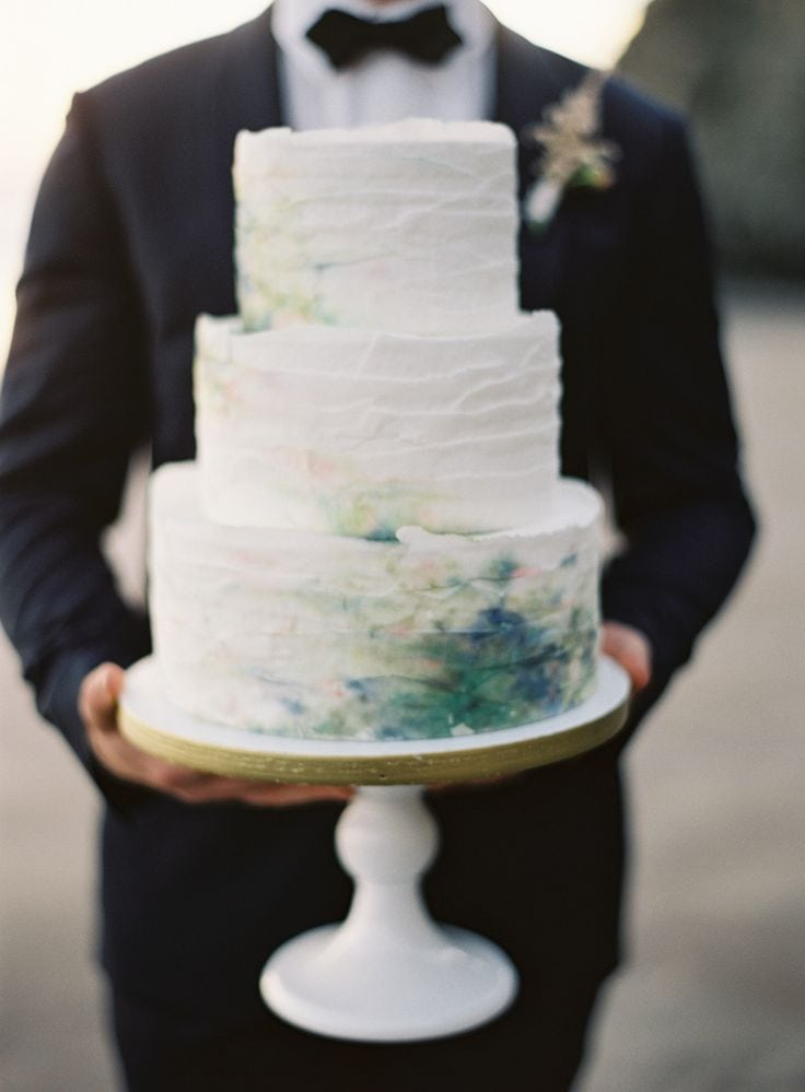 A painted cake and wedding inspiration on the Knot & Pop blog