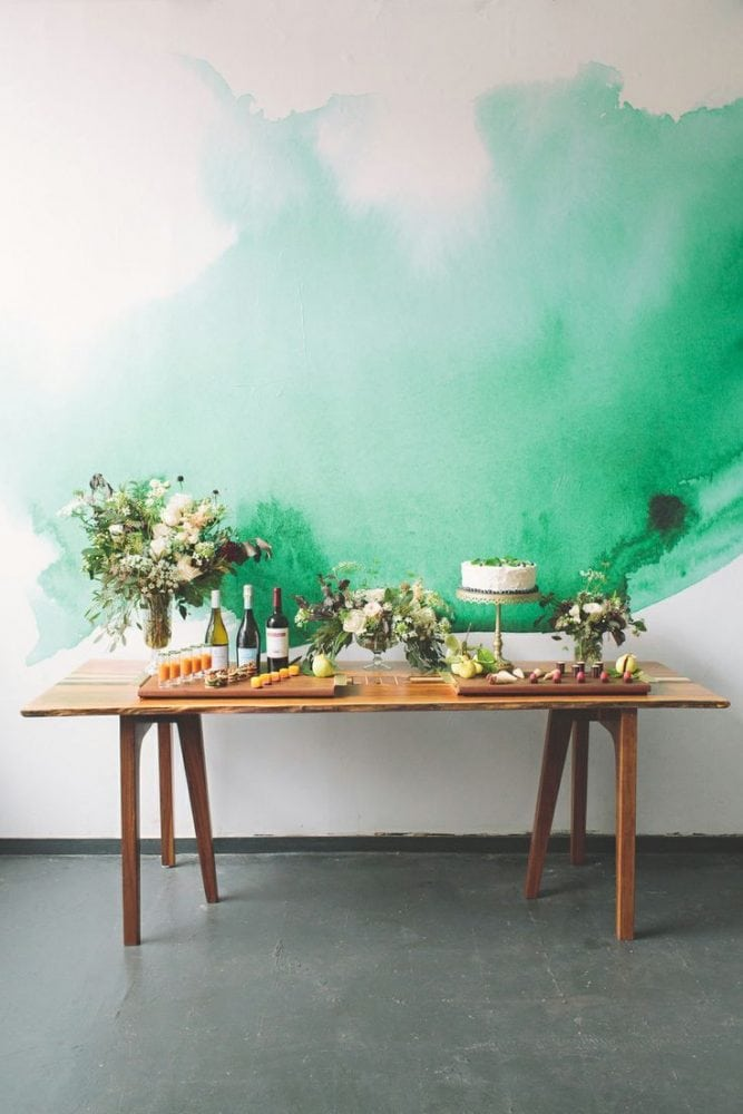 Watercolour backdrop and painterly wedding inspiration on the Knot & Pop blog