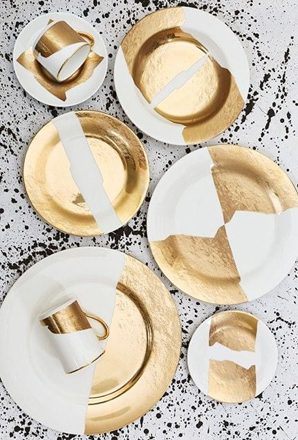 Gold dipped plates for a boho loving wedding