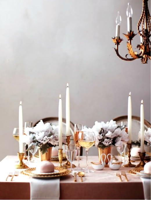 A modern baroque inspired wedding table setting