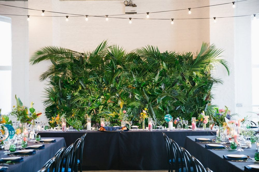 Jungle wedding top table at a Jazz in the Jungle wedding. Wedding by Knot & Pop - UK wedding planners and event designers