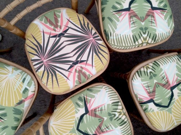 Tropical print seat pads on wedding chairs at a Norfolk countryside wedding, by UK wedding planners Knot & Pop