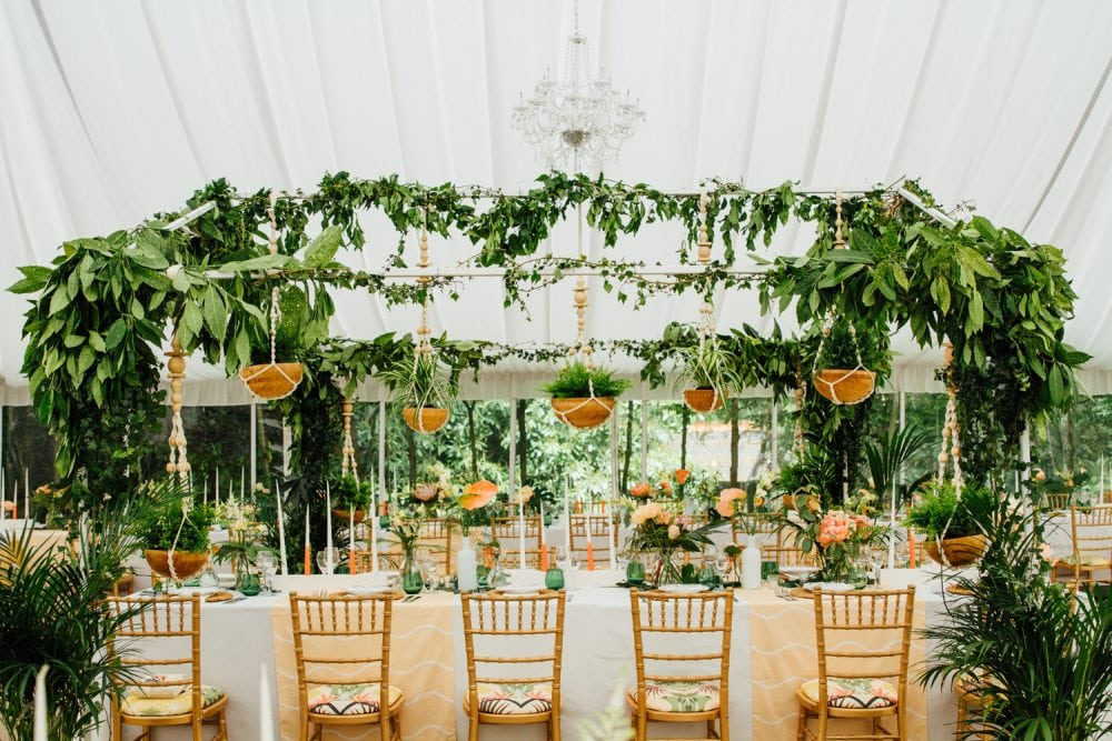 A tropical wedding inspired marquee in Norfolk by UK wedding planners, Knot & Pop