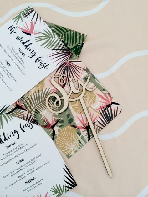 Tropical wedding decorations at a UK countryside wedding
