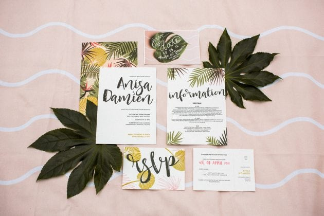 Tropical wedding stationery at a Norfolk countryside wedding by UK wedding planners Knot & Pop