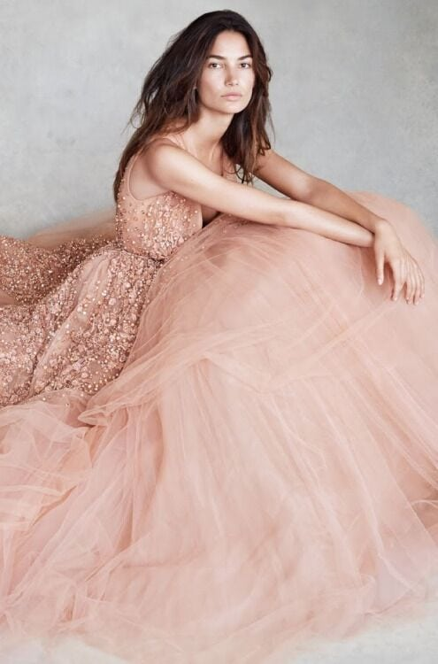 Elie Saab ballet pink wedding dress for romantic bridal style