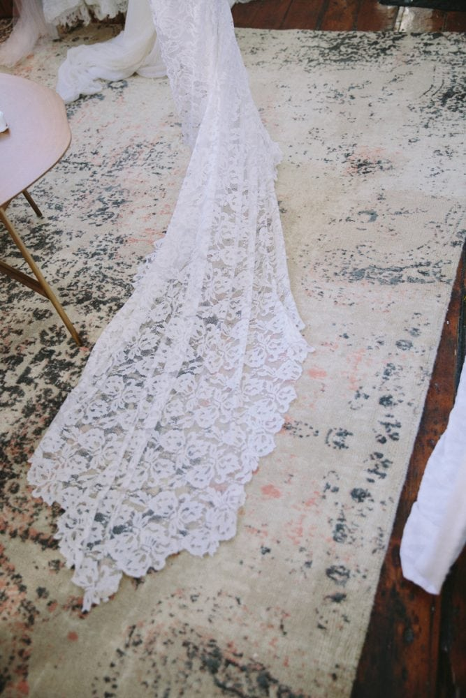 Boho wedding dress style and stylings from Grace Loves Lace, with event design by UK wedding planners Knot & Pop
