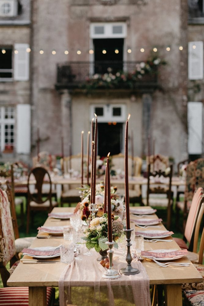 Burgundy and rich red wedding tablescape. Styling Set Up by Knot & Pop, Flowers Swallows and Damsons and Photography Nirav Patel