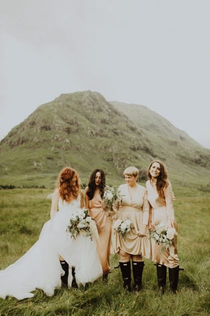 Bride and bridesmaids portraits in the Scottish mountains