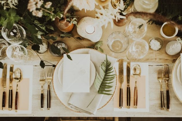 Scottish magical wedding table setting on Mull, planned and styled by Knot & Pop with photography by India Earl