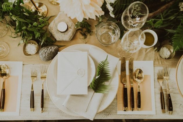 Scottish foliage and fern wedding table setting on Mull, planned and styled by Knot & Pop with photography by India Earl