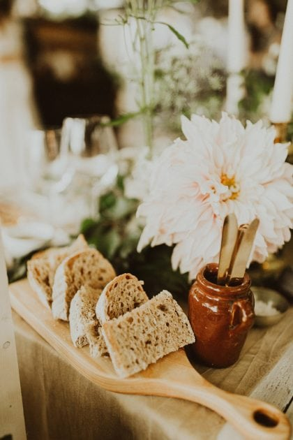 Wedding food and sharing breads for a Scottish wedding on Mull, styled by Knot & Pop and photography by India Earl