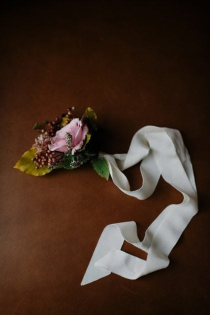 A floral wrist corsage for a Scottish Garden Wedding