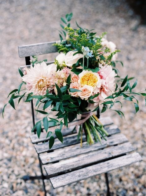 Peach Wedding Bouquet at a French Chateau wedding in Normandy by Knot & Pop and photography by Bubble Rock