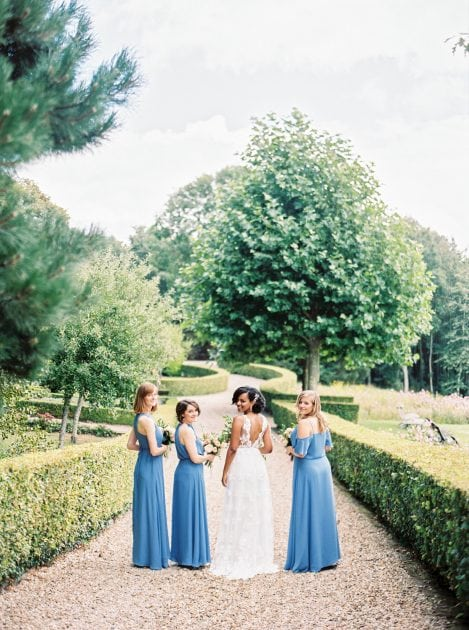 Sky Blue Bridesmaid Dresses at a modern French Chateau wedding