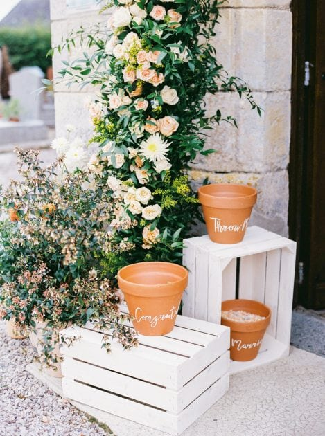 Confetti terracotta pots at a wedding in Normandy France