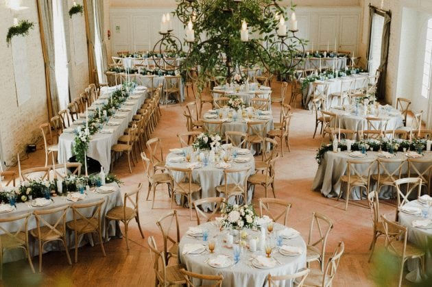 Mixed table dining at a wedding in Normandy France by wedding stylists Knot & Pop