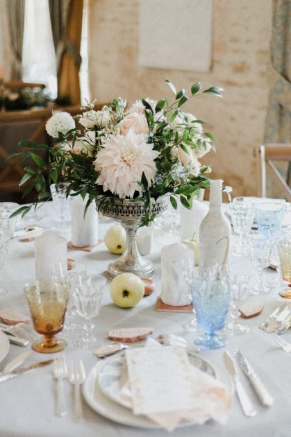Blue glasses at a wedding in Normandy France by wedding stylists Knot & Pop