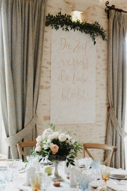Gold lettered signage at a wedding in Normandy France by wedding stylists Knot & Pop