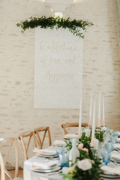Personalised signage at a wedding in Normandy France by wedding stylists Knot & Pop