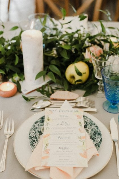Vintage blue plates at a wedding in Normandy France by wedding stylists Knot & Pop