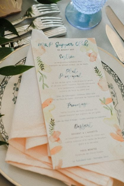 Peach watercolour menus and napkins at a wedding in Normandy France by wedding stylists Knot & Pop