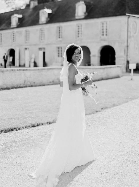 Bridal black white portrait at a wedding in Normandy France