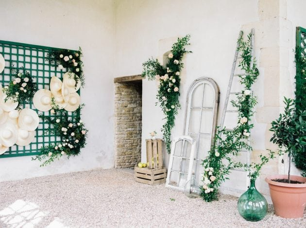 An empty Orangery with concept and styling by Knot & Pop and photography by Bubble Rock. Wedding in Normandy France at a Chateau with an Orangery and Walled Garden.