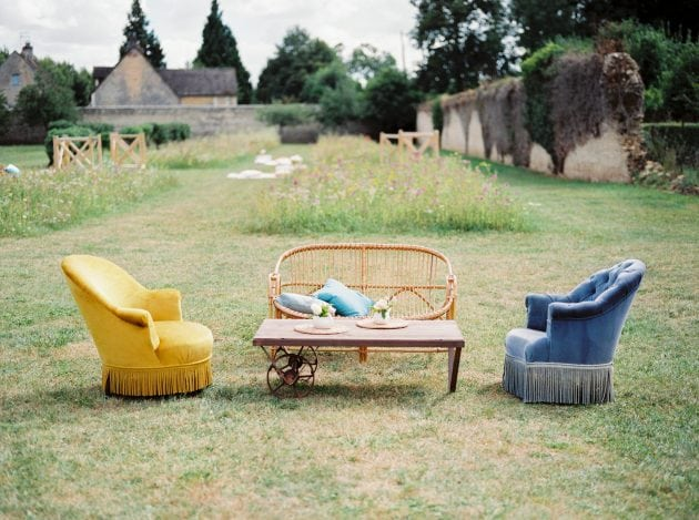 Outdoor Sofa and Lounge Styling at a wedding in Normandy France, by wedding stylists Knot & Pop
