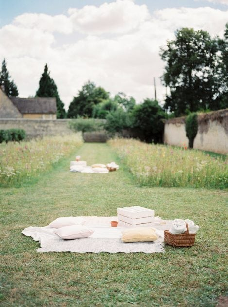 Picnic Blankets Wedding for a garden party at a wedding in Normandy France