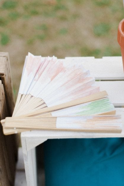 Watercolour painted fans by wedding stylists Knot & Pop