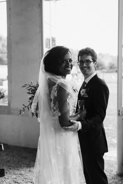 Black and White couple portrait at their wedding in Normandy France