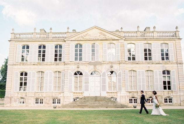 Chateau with blue shutters at a wedding in Normandy France