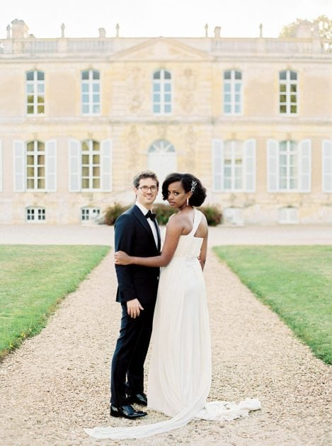 Cross back evening wedding dress at a Chateau wedding in Normandy France