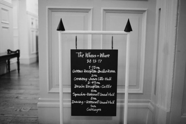 Bespoke swing signage at a Castle Winter Wedding by wedding planners and event stylists, Knot & Pop. Photography by The Hendrys.