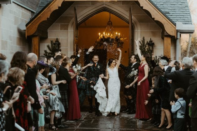 Confetti throw at a Castle Wedding by wedding planners and event stylists, Knot & Pop. Photography by The Hendrys.