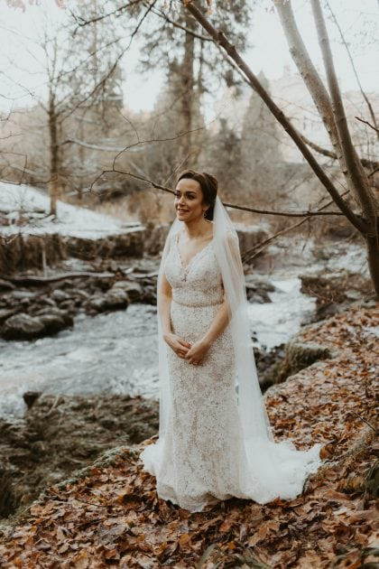 Winter bride at a Castle Wedding by wedding planners and event stylists, Knot & Pop. Photography by The Hendrys.