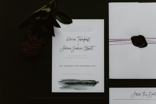 Black and white invite stationery at a Castle Winter Wedding by wedding planners and event stylists, Knot & Pop. Photography by The Hendrys.