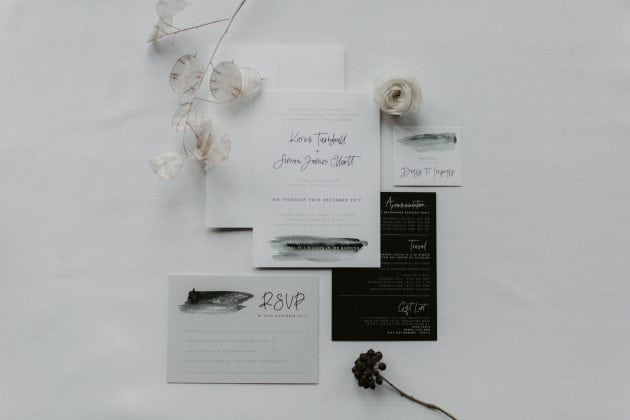 Monochrome invite stationery at a Castle Winter Wedding by wedding planners and event stylists, Knot & Pop. Photography by The Hendrys.