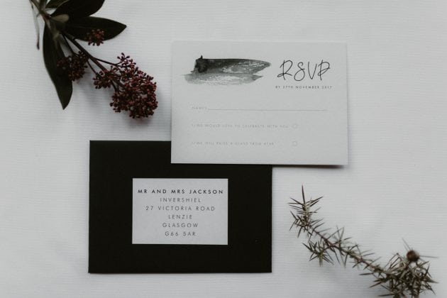 Black and white wedding stationery at a Castle Winter Wedding by wedding planners and event stylists, Knot & Pop. Photography by The Hendrys.