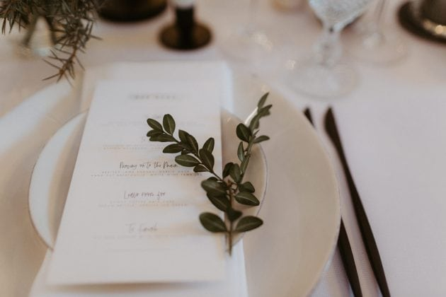 Foliage table sprigs at a Castle Winter Wedding by wedding planners and event stylists, Knot & Pop. Photography by The Hendrys.