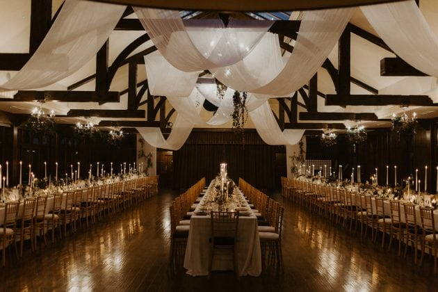 Ceiling draping at a Castle Winter Wedding by wedding planners and event stylists, Knot & Pop. Photography by The Hendrys.