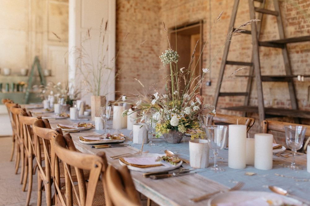 Pale blue table design with pressed and dried flowers, styled by Knot & Pop with flowers by Jo Flowers and Hart Floral